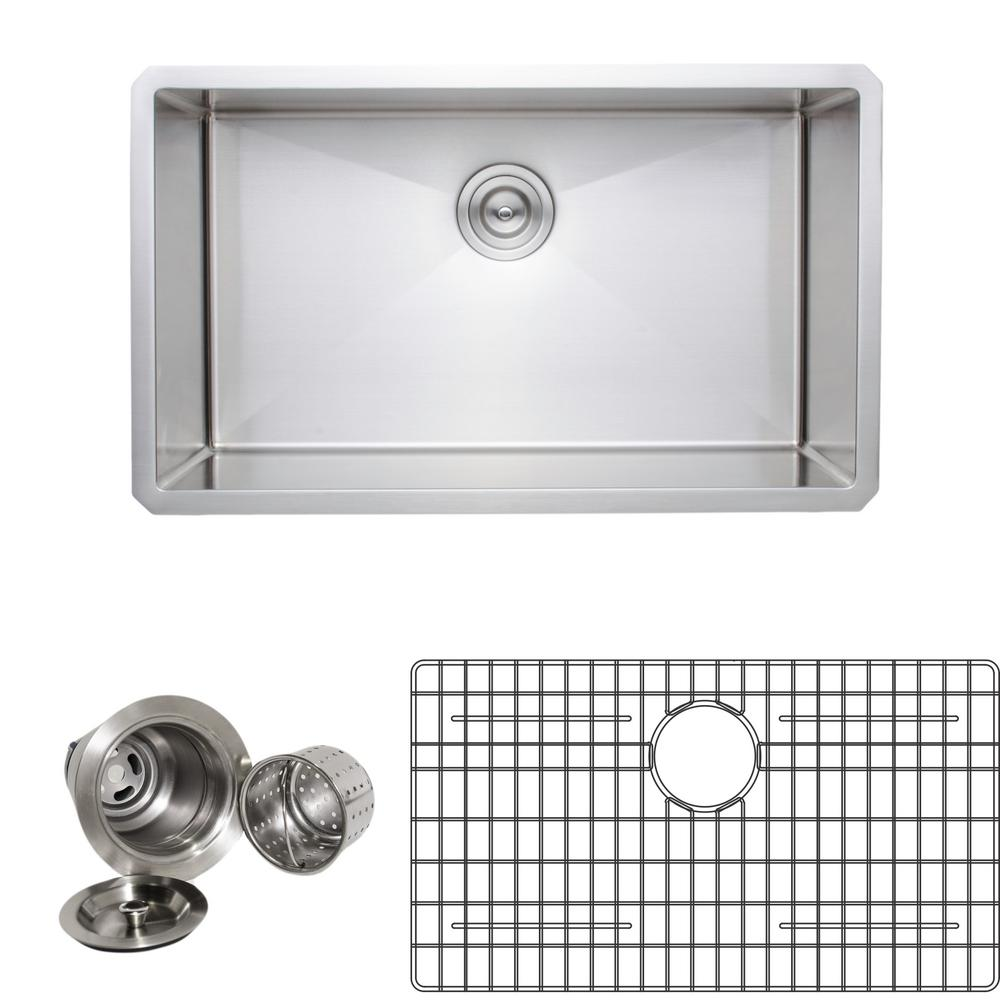 Wells New Chef's Collection Handcrafted Undermount Stainless Steel 30 in. Single Bowl Kitchen Sink Package