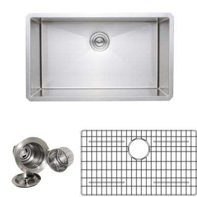 New Chef's Collection Handcrafted Undermount Stainless Steel 30 in. Single Bowl Kitchen Sink Package