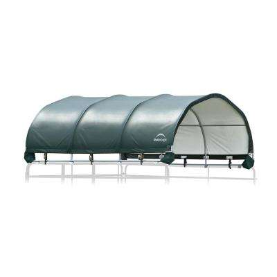 144 sq. ft. Corral Shelter 1-3/8 in. Steel Frame, 7.5 oz. Green PE Cover