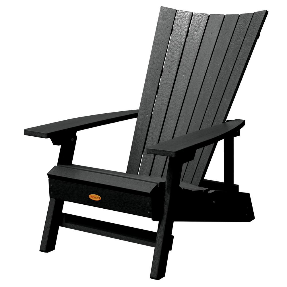 Highwood Manhattan Beach Black Folding and Reclining Recycled Plastic Adirondack Chair