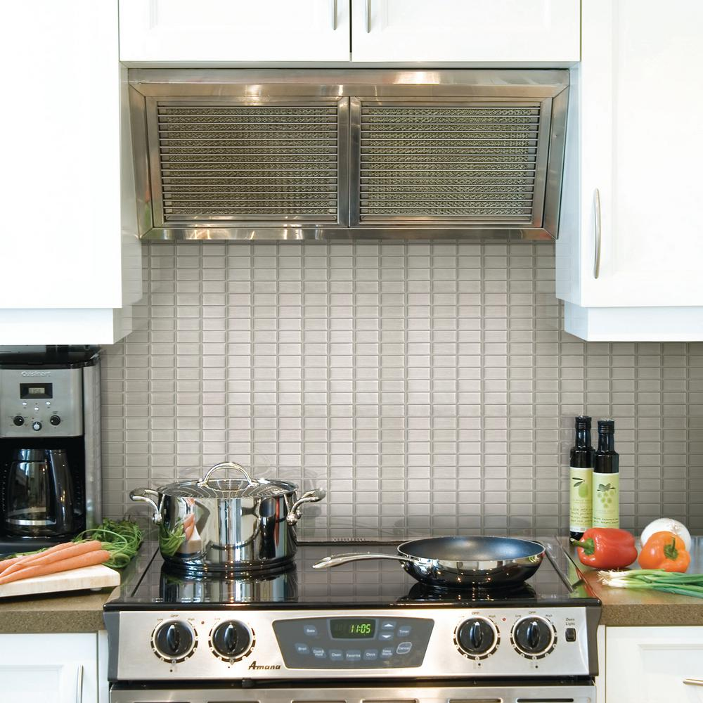 Rona Kitchen Backsplash Tiles: Smart Tiles Stainless 10.625 In. W X 10.00 In. H