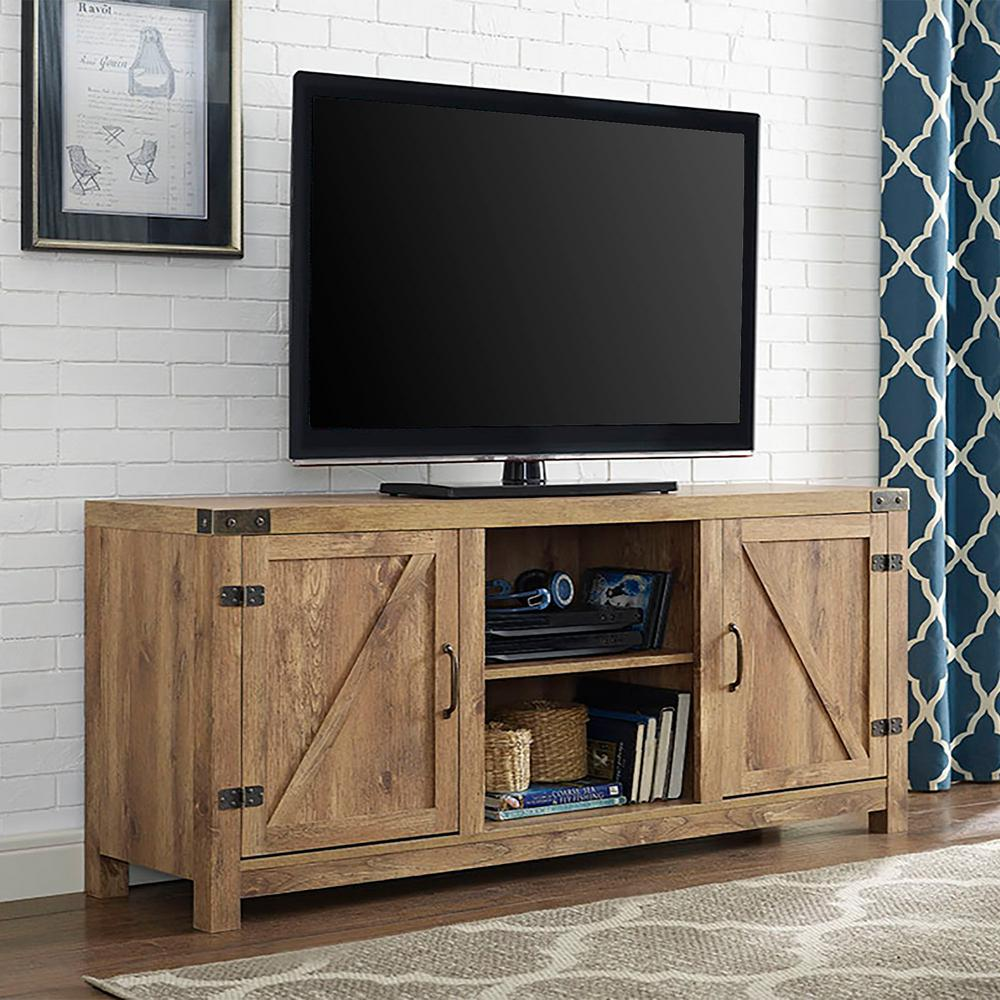 Walker Edison Furniture Company Rustic Barnwood Storage Entertainment Center