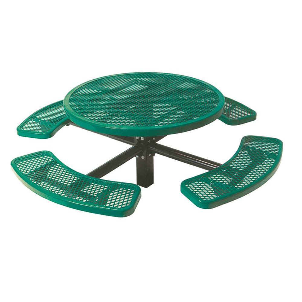 46 in. Diamond Green Commercial Park Round Table in Ground