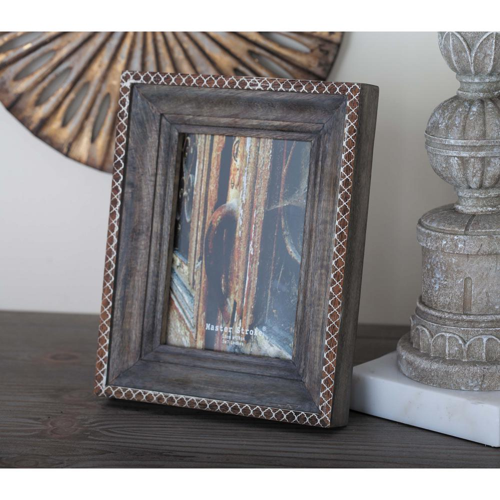 1-Opening 7 in. x 10 in. Brown Wooden Picture Frame