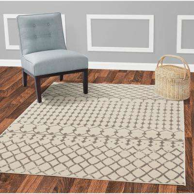 Jasmin Collection Moroccan Trellis Design Ivory and Navy 5 ft. x 7 ft. Area Rug