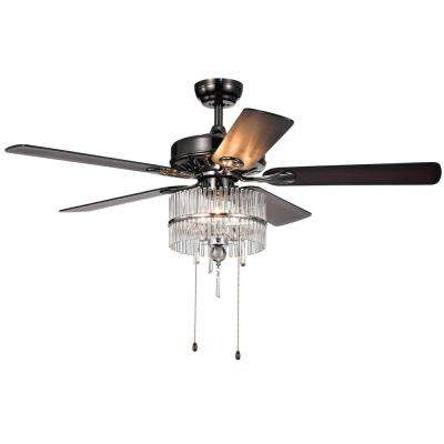 Bilhah 52 in. Indoor Pear Black Ceiling Fan with Light Kit