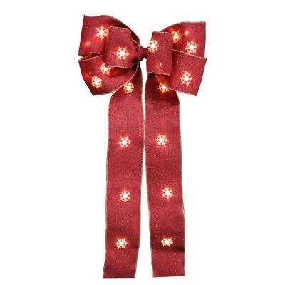 12 in. Red Burlap Bow