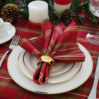 17 in. W x 17 in. L Elrene Shimmering Plaid Holiday Christmas Red/Green Napkins (Set of 4)