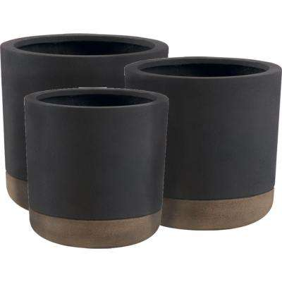 Esteras Collection Vasos Round Dark Brown-Cappuccino Fiberglass Planters (Set of 3)