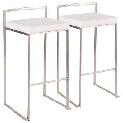 Fuji 30 in. Stainless Steel Bar Stool with White Mohair Cushion (Set of 2)