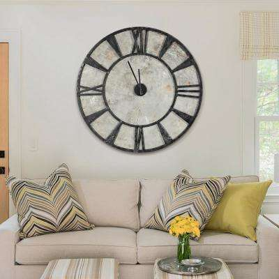 "44.3 in. Dia ""Hand-Painted Concrete and Iron Modern Wall Clock"