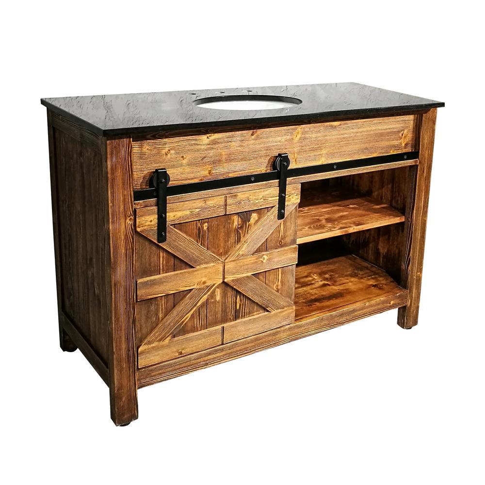 y decor 48 in x 21 in barn door vanity in natural teak. Black Bedroom Furniture Sets. Home Design Ideas