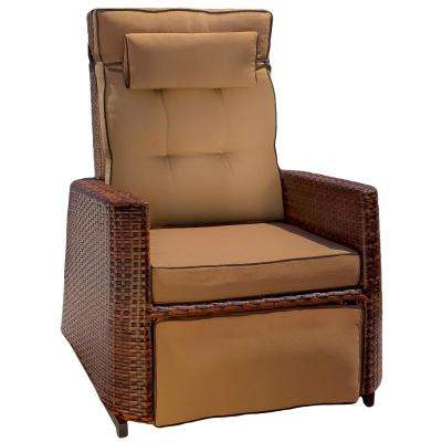 Brown Wicker Outdoor Recliner with Brown Cushion