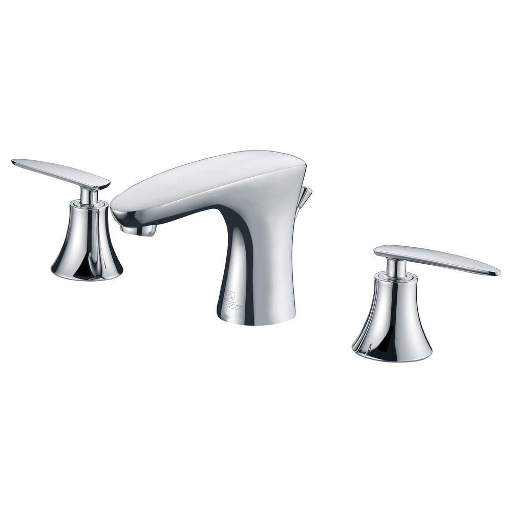 Kohler purist 8 in widespread 2 handle low arc bathroom - Polished chrome bathroom faucets ...
