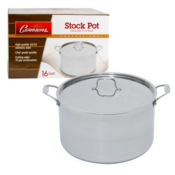 Camerons Products 16 Qt. Tri-Ply Professional Grade Induction Stock Pot with Stainless Steel Lid