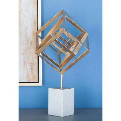 23 in. Cube Outline Decorative Sculpture in Gold