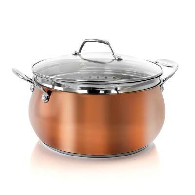 Carabello 6.9 Qt. Copper Stainless Steel Dutch Oven with Lid