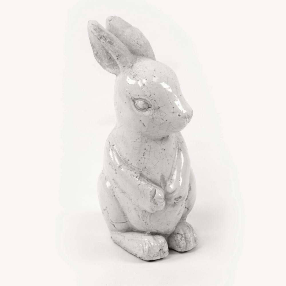 Small Distressed White Decorative Rabbit