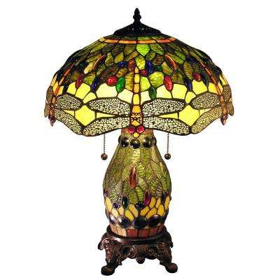 Zurie 23 in. Bronze Indoor Double-Lit Table Lamp with Green Dragonfly Shade