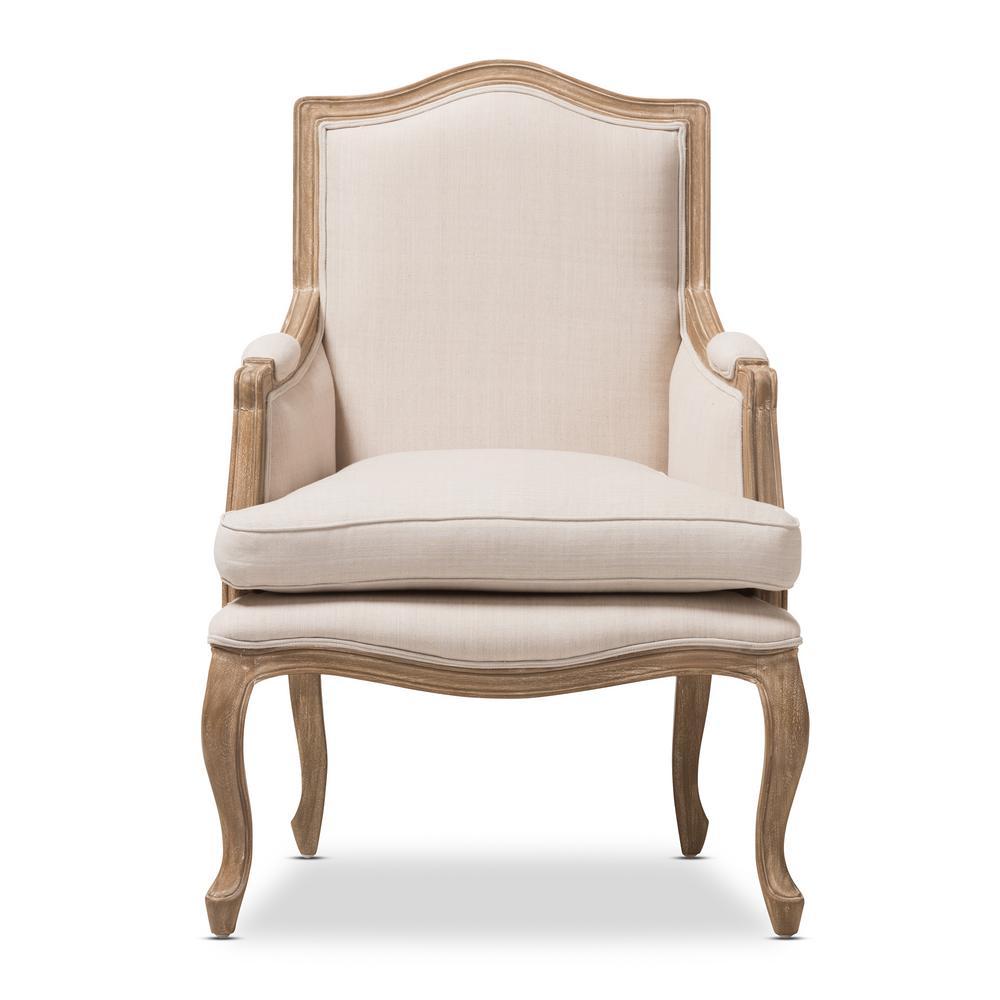 Alarica Beige Fabric Arm Chair