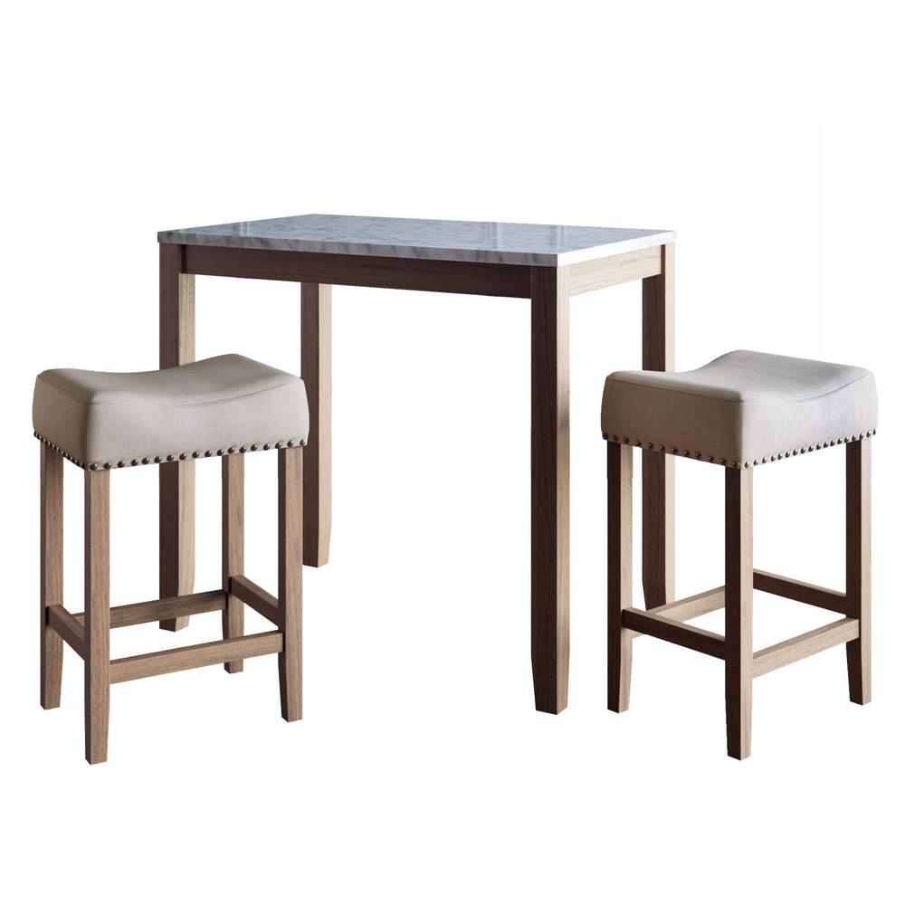 Viktor 3-Piece White and Light Brown Pub Table Set