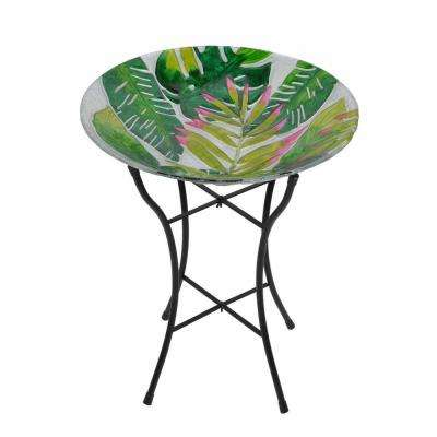 Outdoor 18 in. Glass Hand Painted Bird Bath