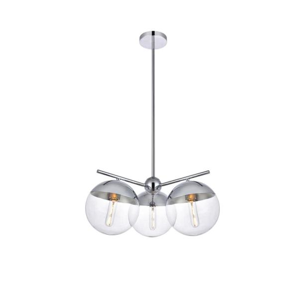 Timeless Home Eden 3-Light Chrome Pendant with 8 in. W x 7.5 in. H Clear Glass Shade