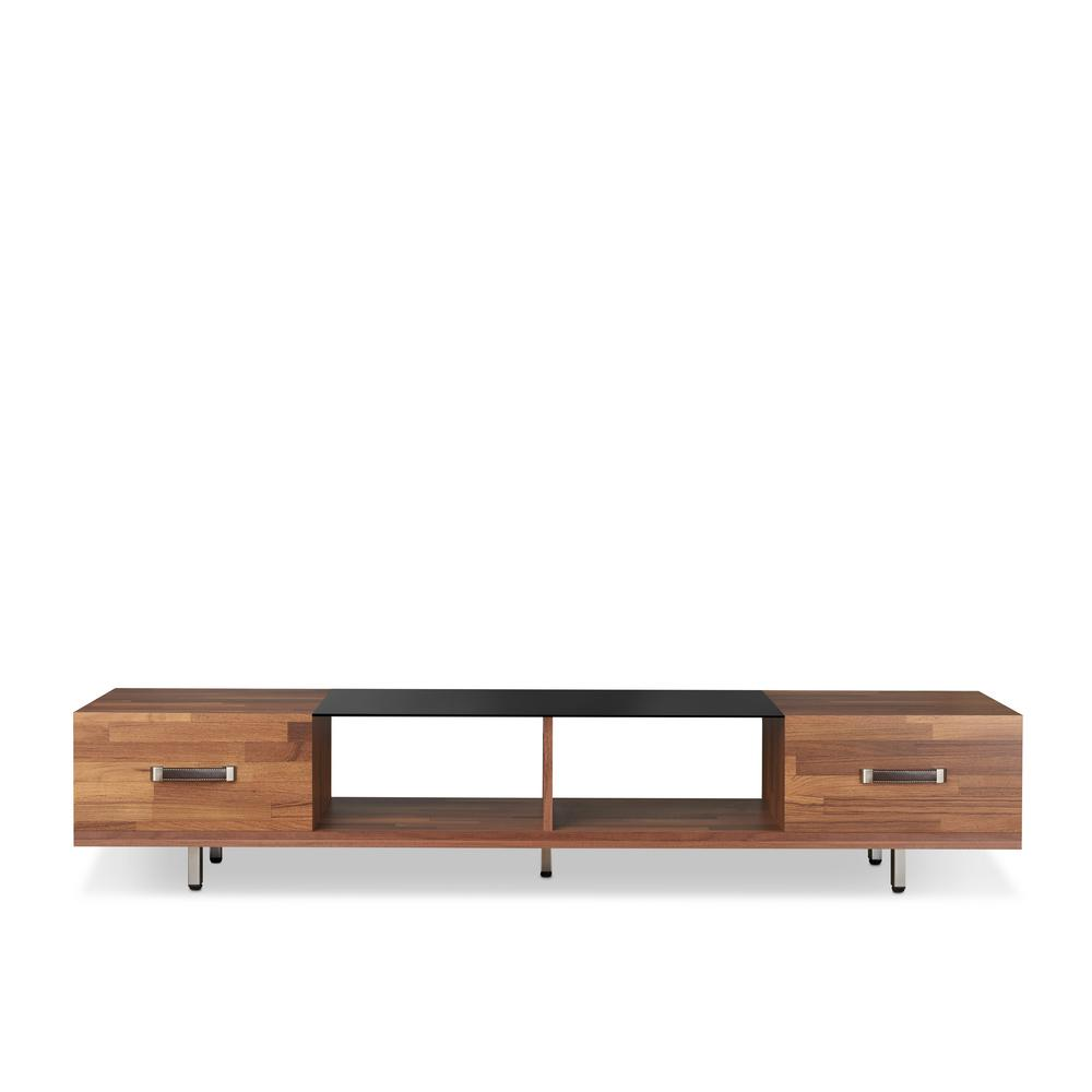 Sara I Walnut and Smoky Glass TV Stand