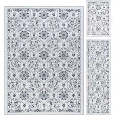 Majesty Ivory 5 ft. x 7 ft. 3-Piece Rug Set