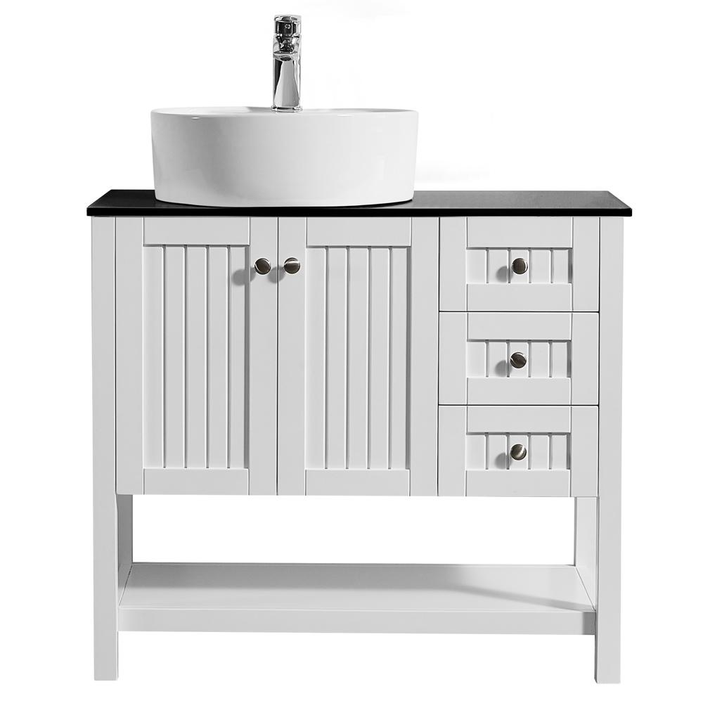 ROSWELL Modena 36 in. W x 18 in. D Vanity in White with Glass Vanity Top in Black with White Basin