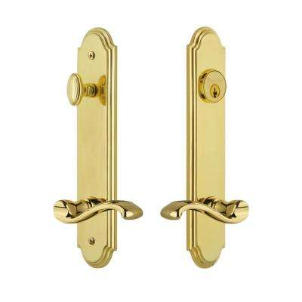 Arc Tall Plate 2-3/4 in. Backset Lifetime Brass Door Handleset with Portofino Door Lever