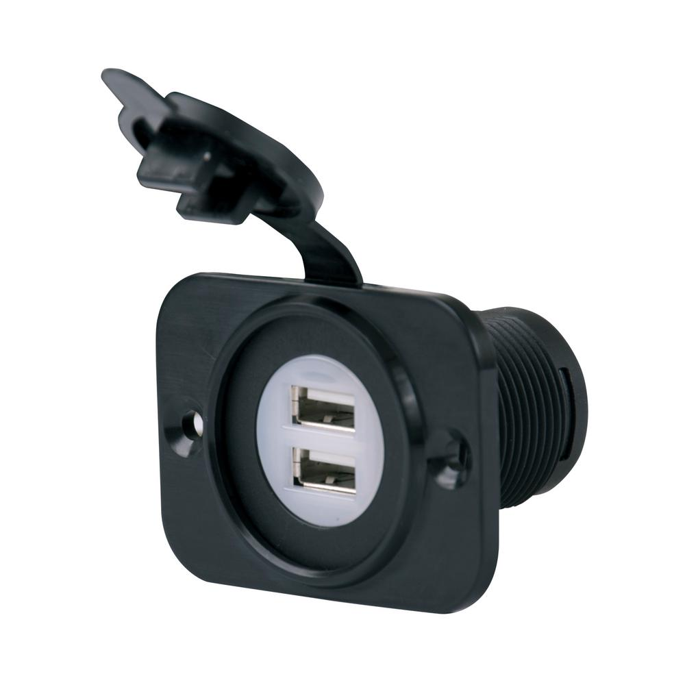 ParkPower Dual USB Charger Receptacle, 12 to 24-Volt Input