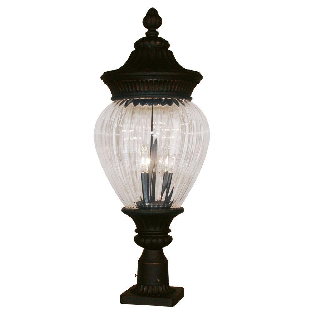 Tulen Lawrence 2-Light Outdoor Black Gold Incandescent Post Light