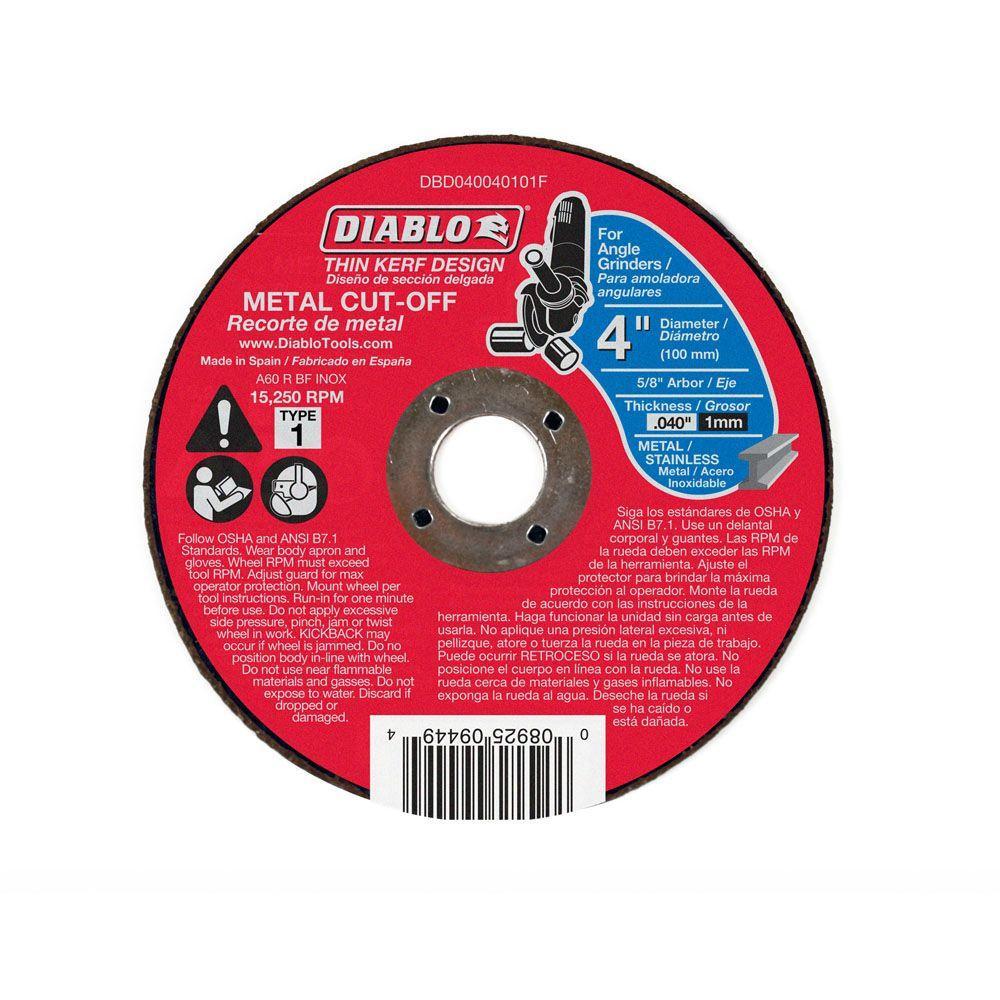 Diablo 4 in. x 0.040 in. x 5/8 in. Thin Kerf Metal Cut-Off Disc (25-Pack)