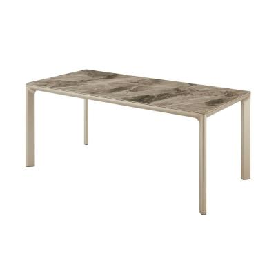 Otello 35 in. Champagne Silver Ceramic and Metal Rectangular Dining Room Table