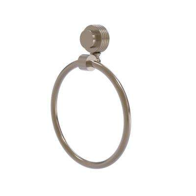 Venus Collection Towel Ring with Groovy Accent in Antique Pewter
