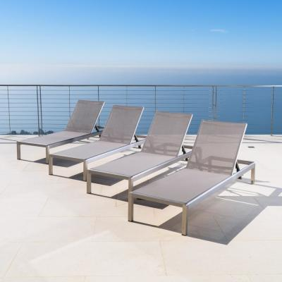 Cape Coral Grey Metal Outdoor Chaise Lounge (Set of 4)