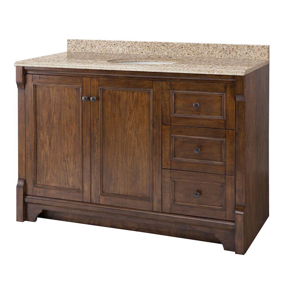 Home Decorators Collection Creedmoor 49 in. W x 22 in. D Vanity in Walnut with Granite Vanity Top in Beige with White Sink