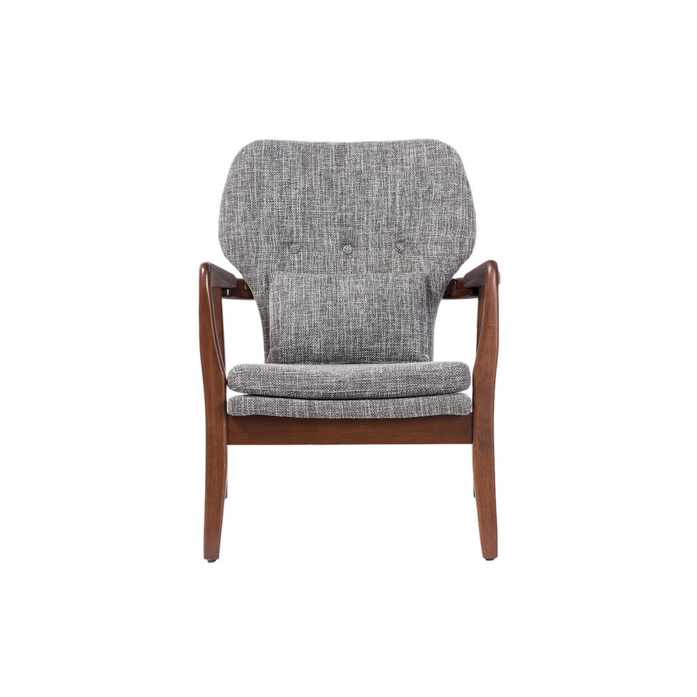 Rundell Mid-Century Gray Fabric Upholstered Accent Chair
