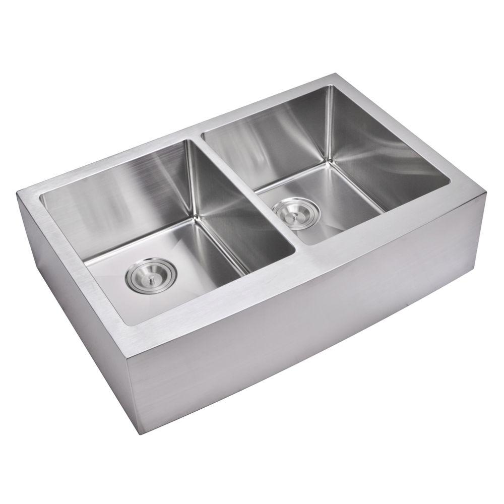 Water Creation Farmhouse Apron Front Small Radius Stainless Steel 33 in. Double Bowl Kitchen Sink in Satin
