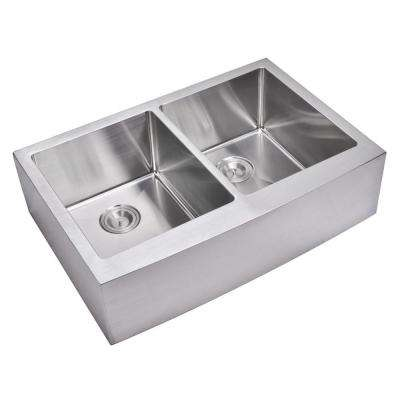 Farmhouse Apron Front Small Radius Stainless Steel 33 in. Double Bowl Kitchen Sink in Satin