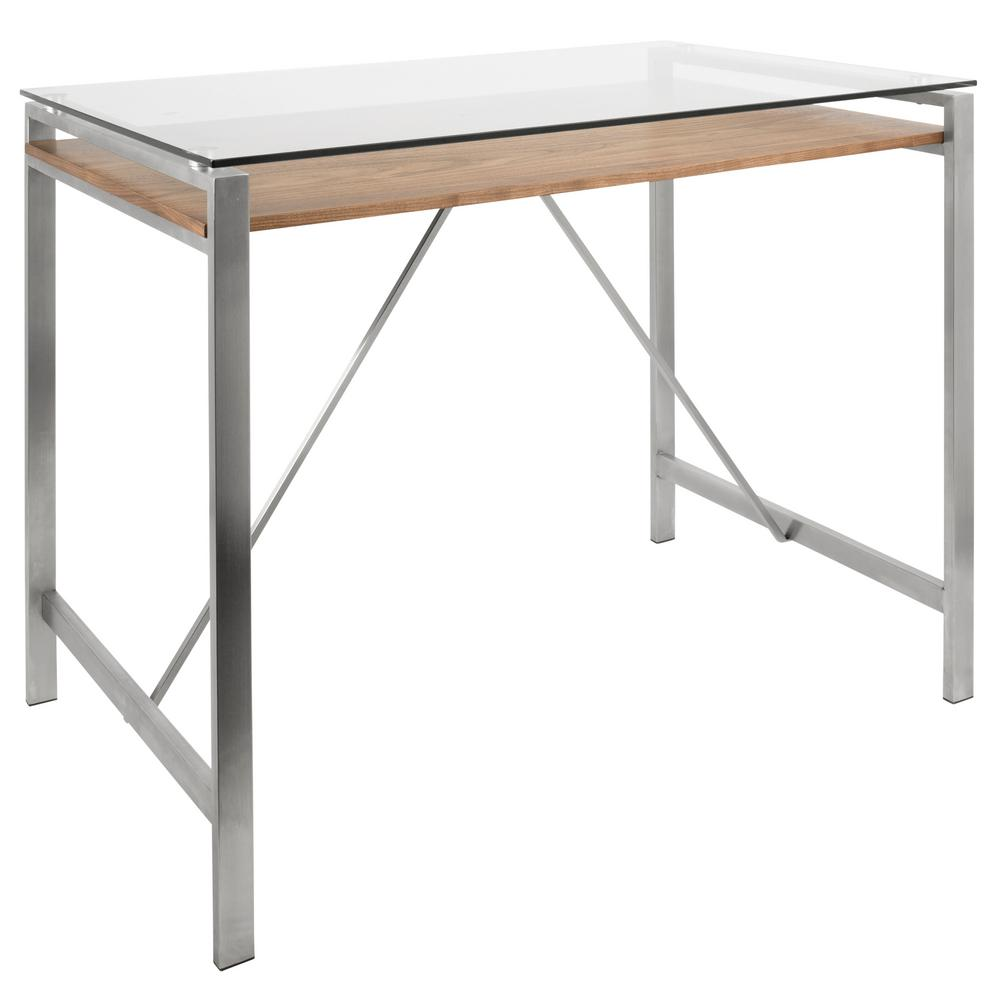 Lumisource Hover Stainless Steel And Glass Counter Height Dining Table