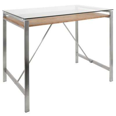 Hover Stainless Steel and Glass Counter Height Dining Table