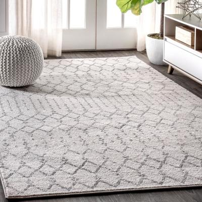 Moroccan Hype Boho Vintage Diamond Cream/Gray 8 ft. x 10 ft. Area Rug