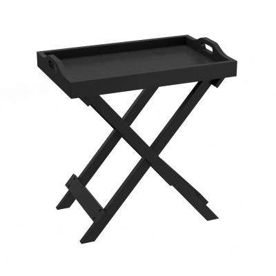 Black Wooden Folding End Table with Removable Tray
