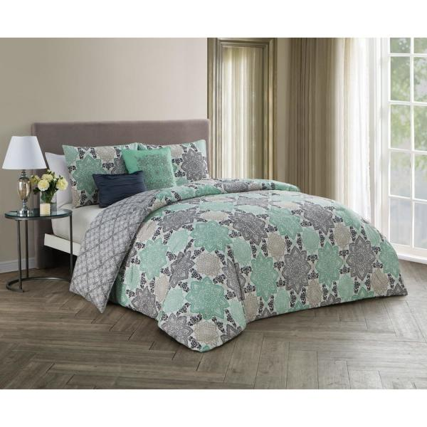 Avondale Manor Greer 5-Piece Grey and Mint Queen Comforter Set GER5CSQUENGHGM