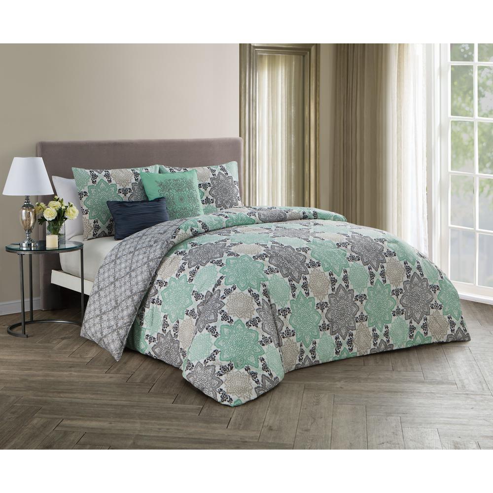 Greer 5-Piece Grey and Mint Queen Comforter Set