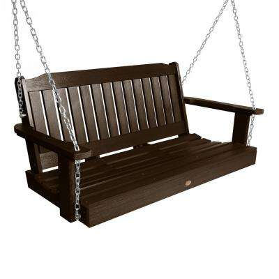 Lehigh 48 in. 2-Person Weathered Acorn Recycled Plastic Porch Swing