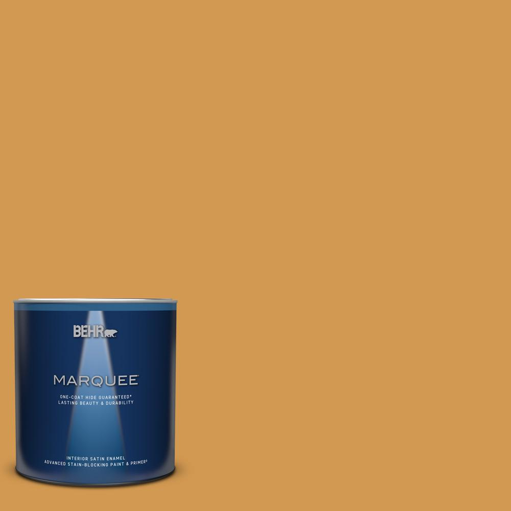 Behr Marquee 1 Qt Ppu6 02 Saffron Strands Satin Enamel Interior Paint Primer 745304 The Home Depot