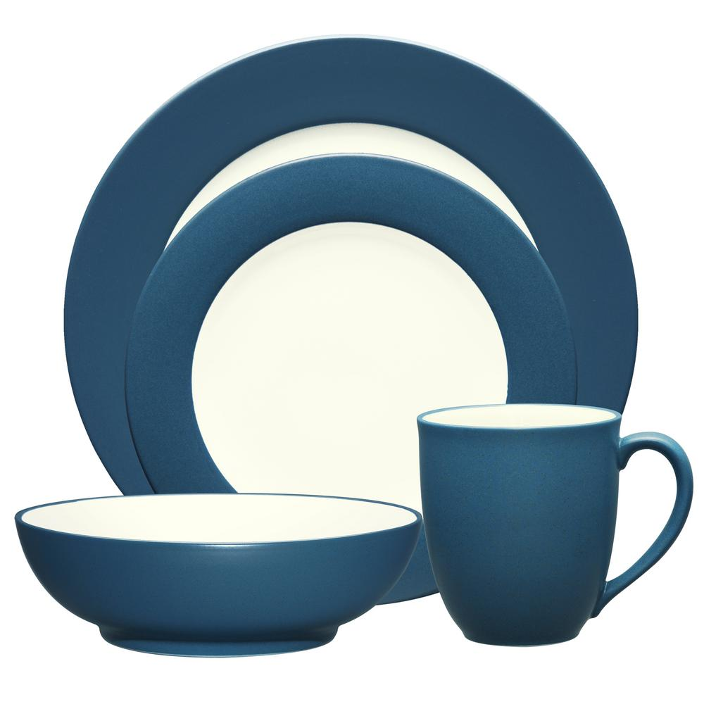 Colorwave Rim 4-Piece Casual Blue Stoneware Dinnerware Set (Service for 1)